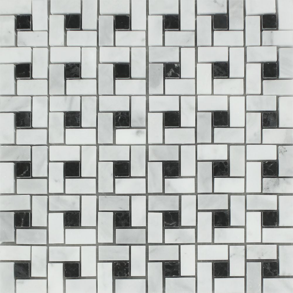 Bianco Mare Polished Marble Mini Pinwheel Mosaic Tile w/ Black Dots Sample - Tilephile