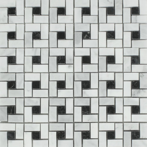 Bianco Mare Polished Marble Mini Pinwheel Mosaic Tile w/ Black Dots