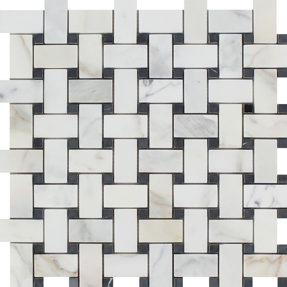 Calacatta Gold Honed Marble Basketweave Mosaic Tile w/ Black Dots Sample - Tilephile