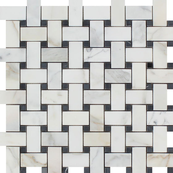 Calacatta Gold Honed Marble Basketweave Mosaic Tile w/ Black Dots - Tilephile