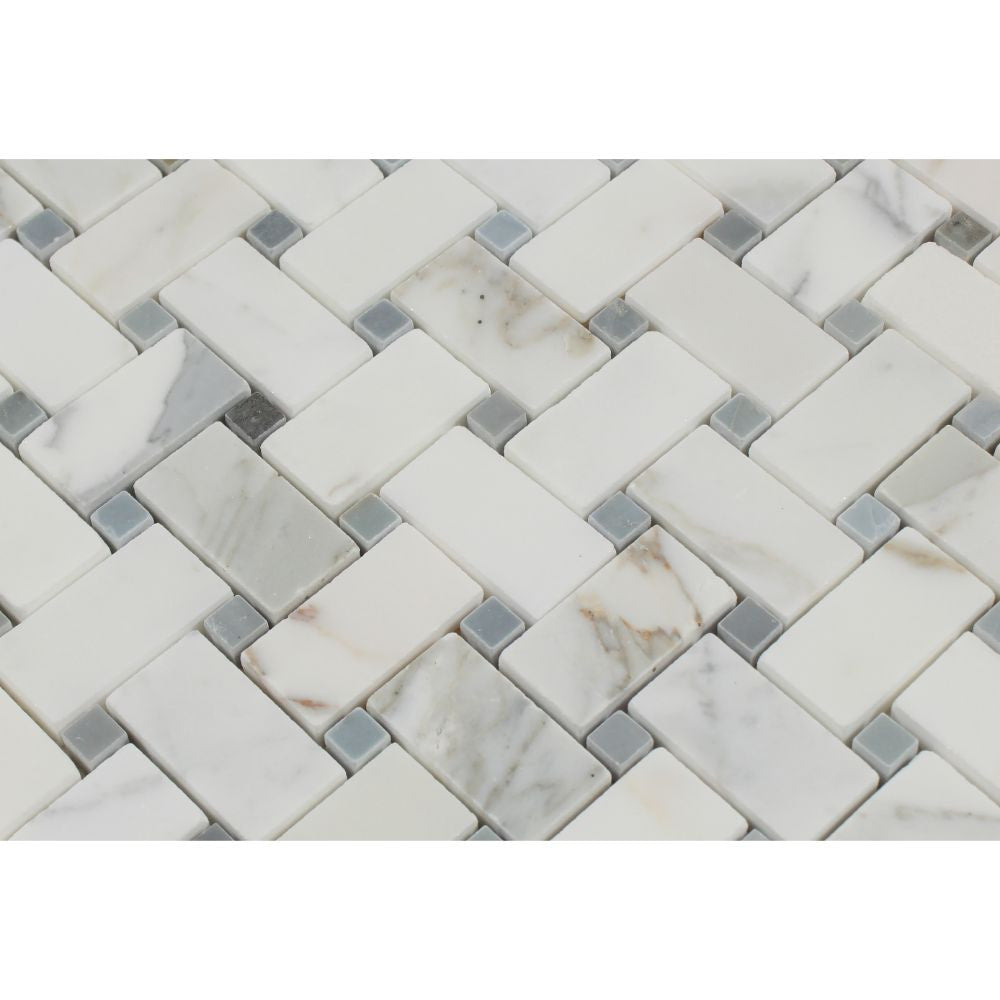 Calacatta Gold Honed Marble Basketweave Mosaic Tile w/ Blue-Gray Dots - Tilephile