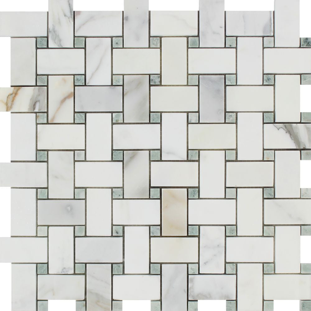 Calacatta Gold Honed Marble Basketweave Mosaic Tile w/ Ming Green Dots Sample - Tilephile