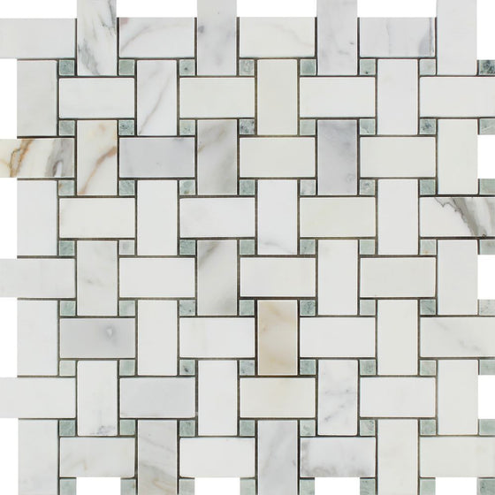 Calacatta Gold Honed Marble Basketweave Mosaic Tile w/ Ming Green Dots - Tilephile