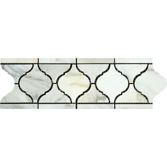 Calacatta Gold Honed Marble Lantern Border - Tilephile