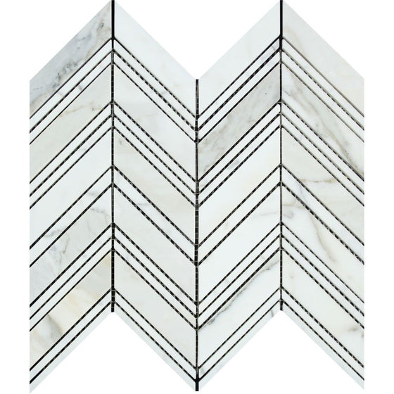 Calacatta Gold Honed Marble Large Chevron Mosaic Tile w/ Calacatta Gold Strips - Tilephile