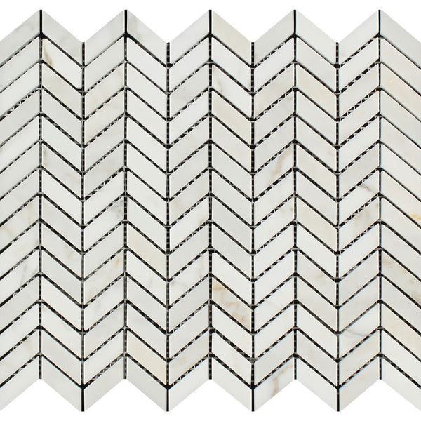 Calacatta Gold Honed Marble Mini Chevron Mosaic Tile