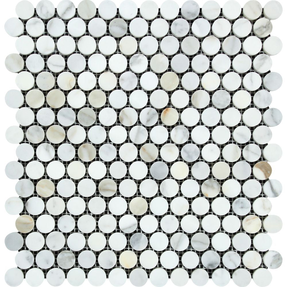 Calacatta Gold Honed Marble Penny Round Mosaic Tile Sample - Tilephile
