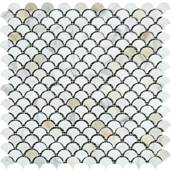 Calacatta Gold Honed Marble Raindrop Mosaic Tile - Tilephile