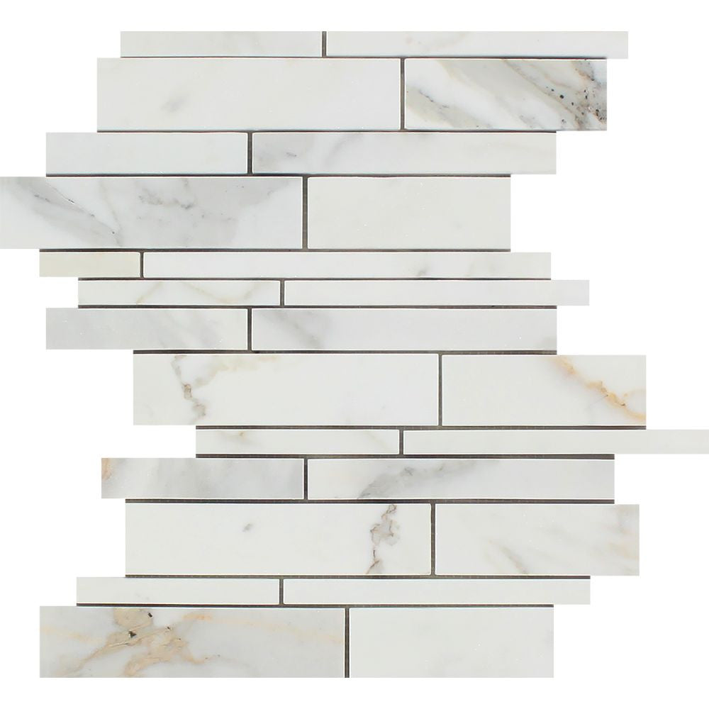 Calacatta Gold Honed Marble Random Strip Mosaic Tile Sample - Tilephile