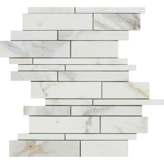 Calacatta Gold Honed Marble Random Strip Mosaic Tile - Tilephile
