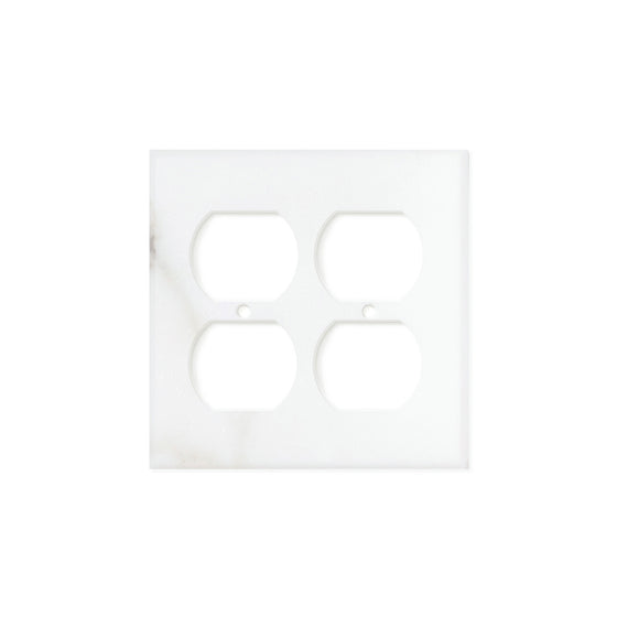 Calacatta Gold Marble Switch Plate Cover, Honed (2 DUPLEX) - Tilephile