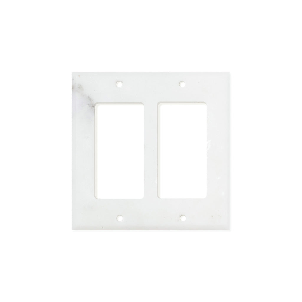 Calacatta Gold Marble Switch Plate Cover, Honed (2 ROCKER) - Tilephile