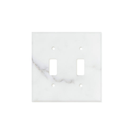Calacatta Gold Marble Switch Plate Cover, Honed (2 TOGGLE) - Tilephile
