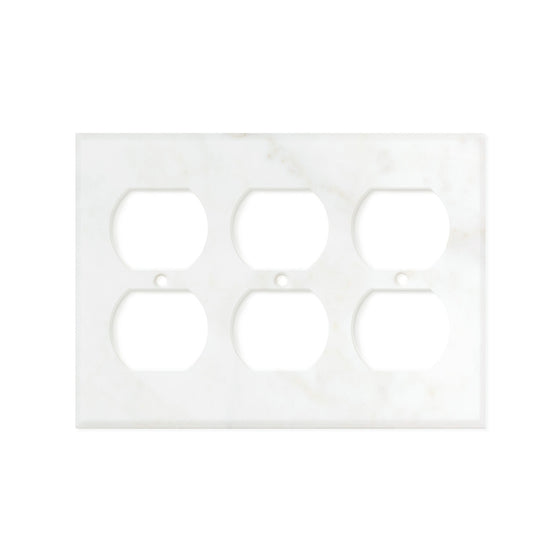 Calacatta Gold Marble Switch Plate Cover, Honed (3 DUPLEX)