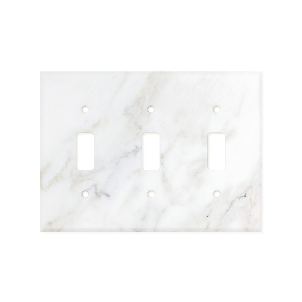 Calacatta Gold Marble Switch Plate Cover, Honed (3 TOGGLE) - Tilephile