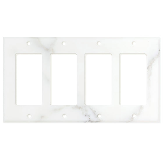 Calacatta Gold Marble Switch Plate Cover, Honed (4 ROCKER) - Tilephile
