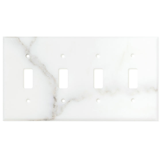 Calacatta Gold Marble Switch Plate Cover, Honed (4 TOGGLE) - Tilephile