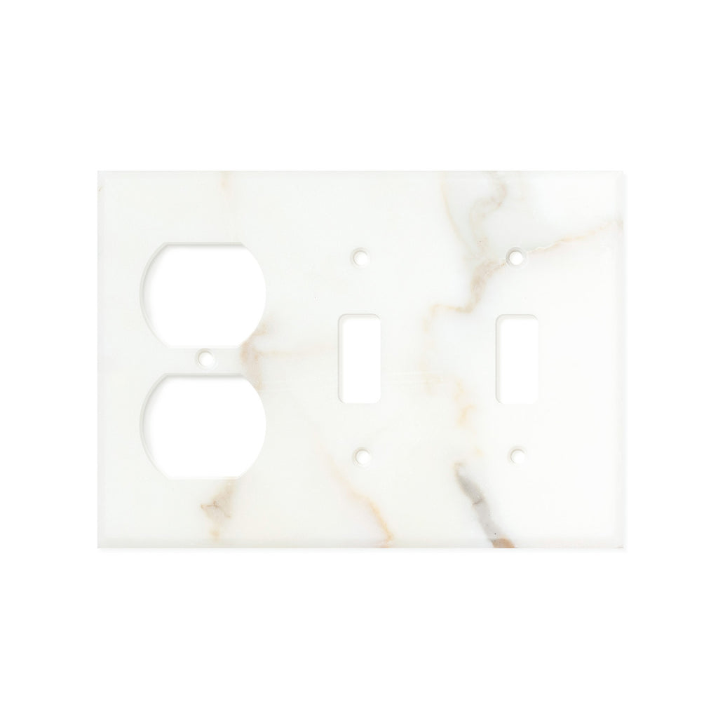 Calacatta Gold Marble Switch Plate Cover, Honed (DOUBLE TOGGLE DUPLEX)