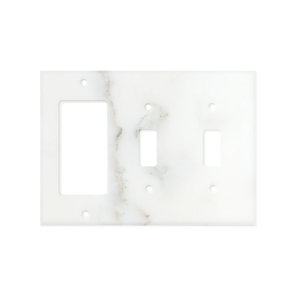Calacatta Gold Marble Switch Plate Cover, Honed (DOUBLE TOGGLE ROCKER)