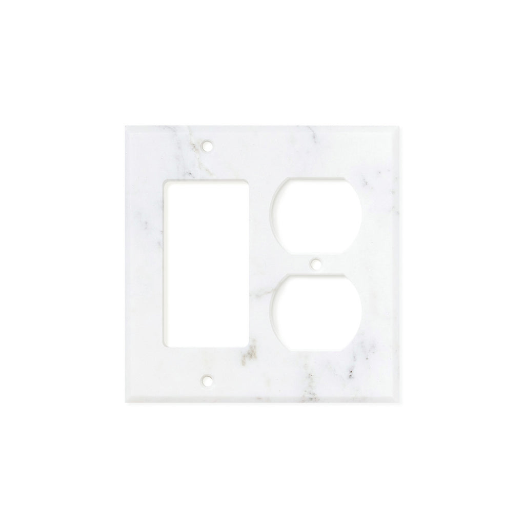 Calacatta Gold Marble Switch Plate Cover, Honed (ROCKER DUPLEX) - Tilephile