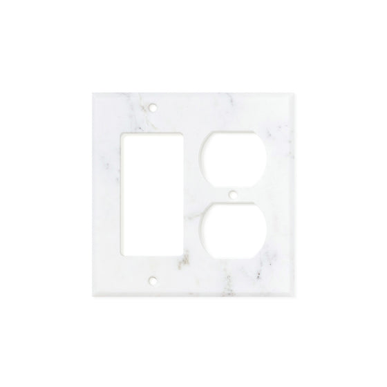 Calacatta Gold Marble Switch Plate Cover, Honed (ROCKER DUPLEX)