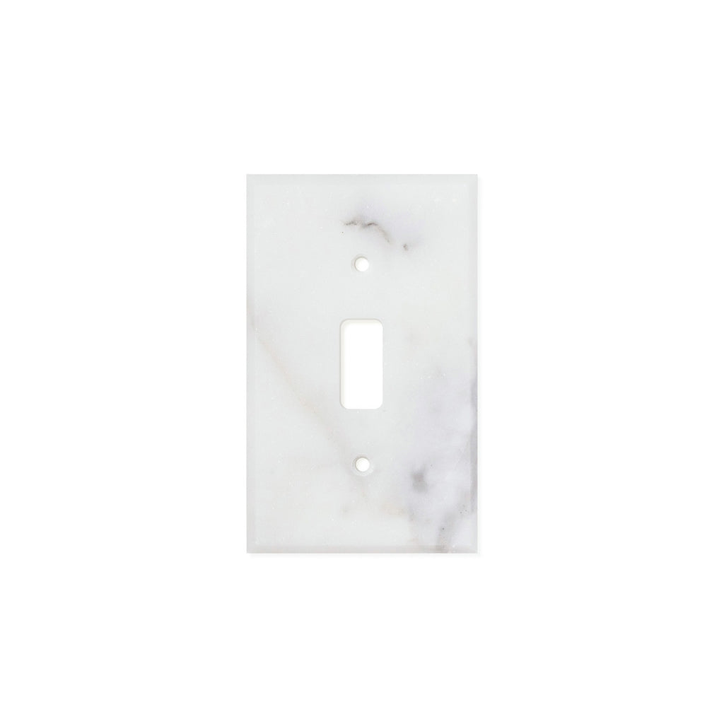 Calacatta Gold Marble Switch Plate Cover, Honed (SINGLE TOGGLE) - Tilephile