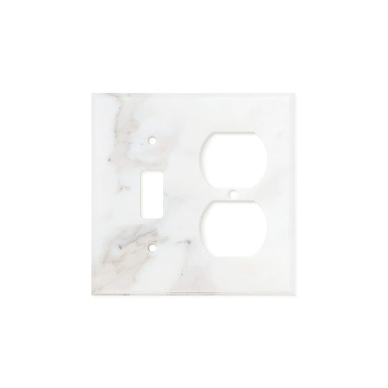 Calacatta Gold Marble Switch Plate Cover, Honed (TOGGLE DUPLEX) - Tilephile