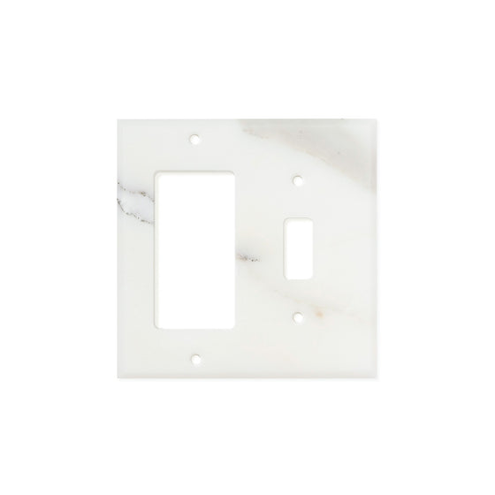 Calacatta Gold Marble Switch Plate Cover, Honed (TOGGLE ROCKER)