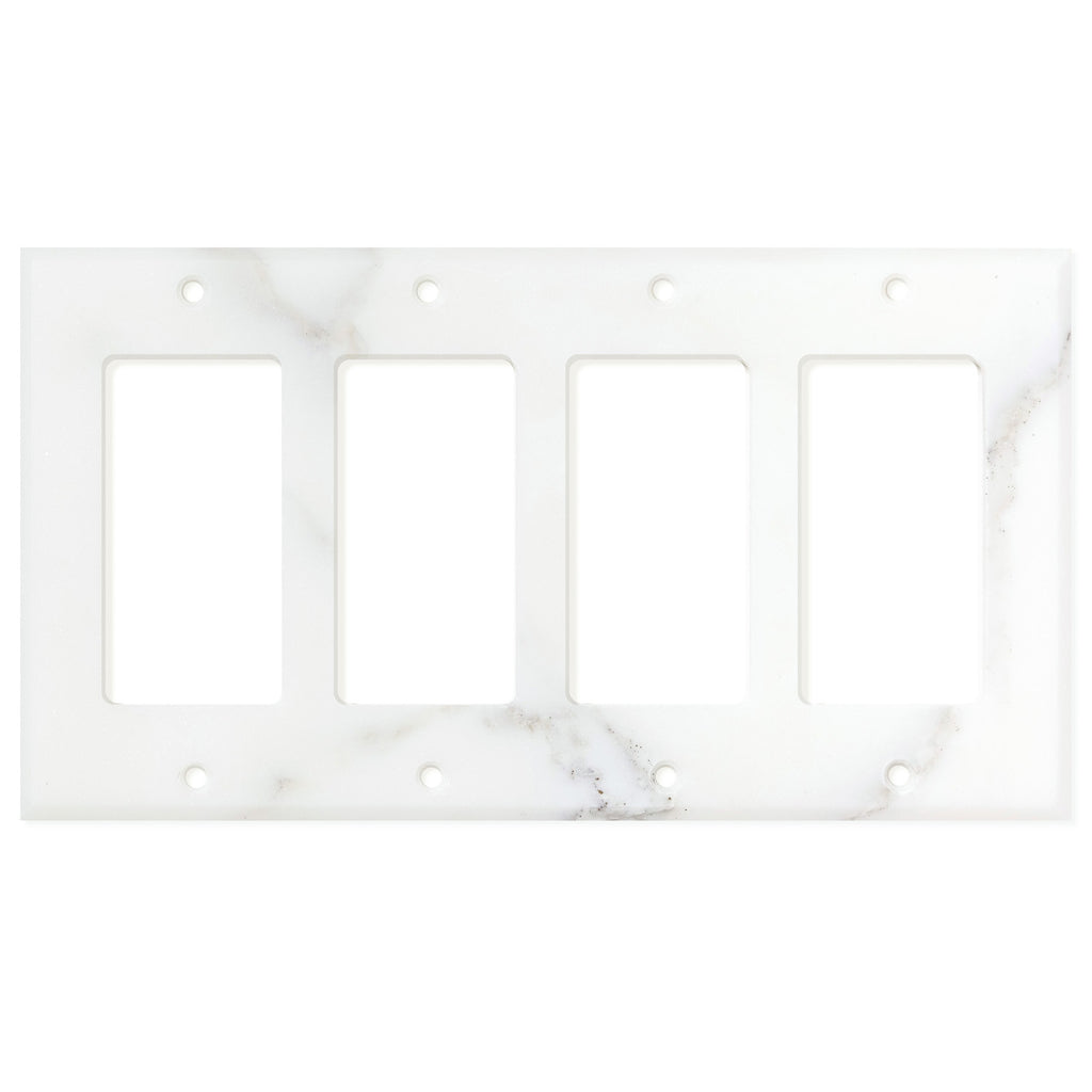 Calacatta Gold Marble Switch Plate Cover, Polished (4 ROCKER) - Tilephile