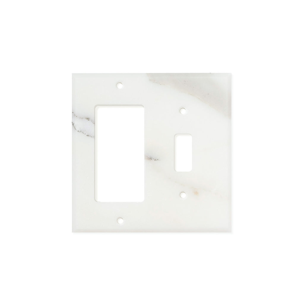 Calacatta Gold Marble Switch Plate Cover, Polished (TOGGLE ROCKER) - Tilephile