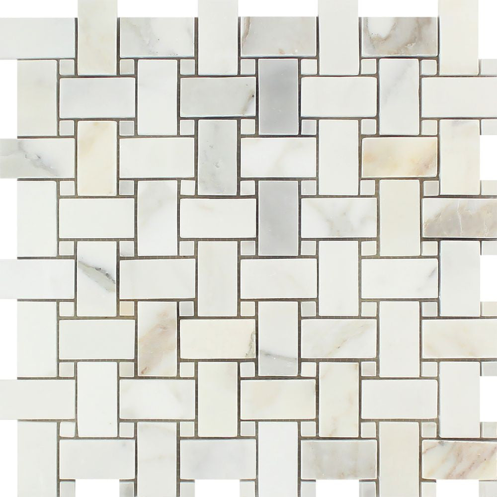 Calacatta Gold Polished Marble Basketweave Mosaic Tile w/ Calacatta Gold Dots Sample - Tilephile