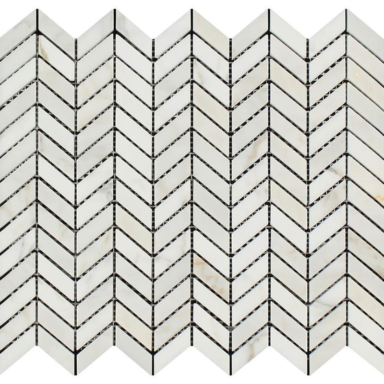 Calacatta Gold Polished Marble Mini Chevron Mosaic Tile - Tilephile