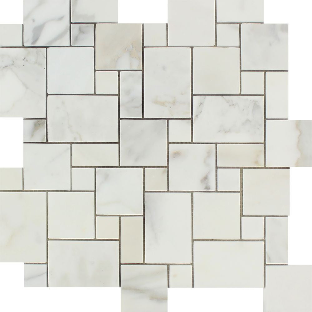 Calacatta Gold Polished Marble Mini Versailles Pattern Mosaic Tile Sample