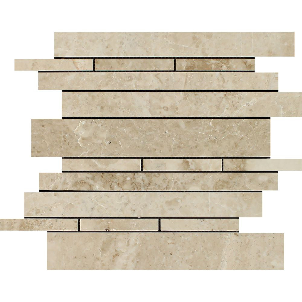 Cappuccino Polished Marble Random Strip Mosaic Tile Sample