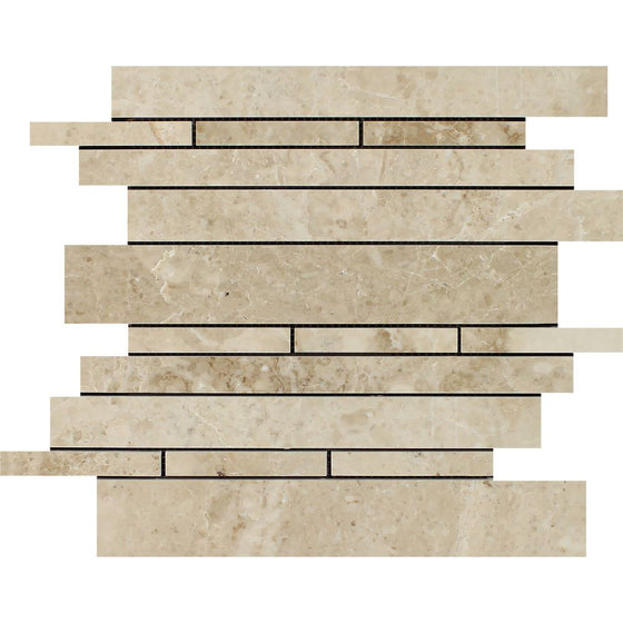Cappuccino Polished Marble Random Strip Mosaic Tile - Tilephile