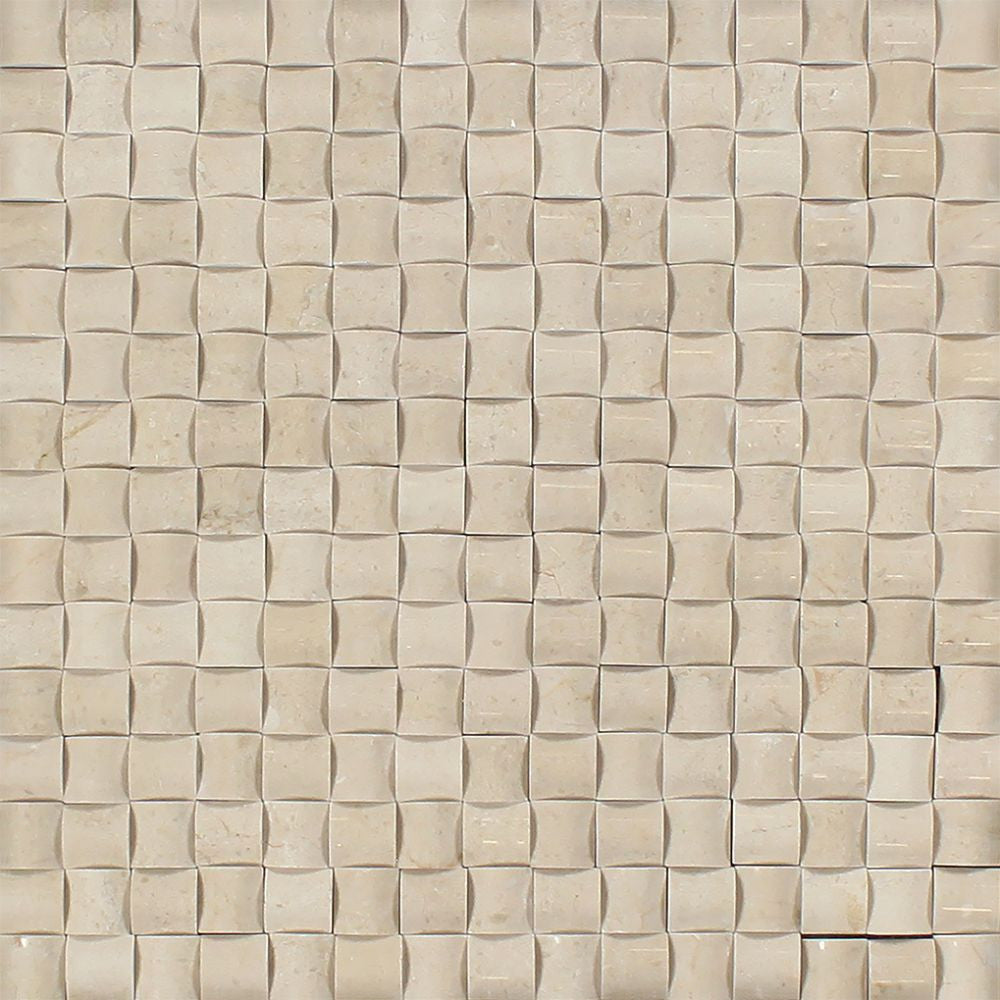 Crema Marfil Polished Marble 3-D Small Bread Mosaic Tile Sample - Tilephile