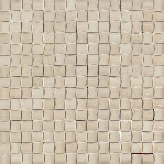 Crema Marfil Polished Marble 3-D Small Bread Mosaic Tile - Tilephile