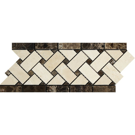 Crema Marfil Polished Marble Basketweave Border w/ Emp. Dark Dots - Tilephile