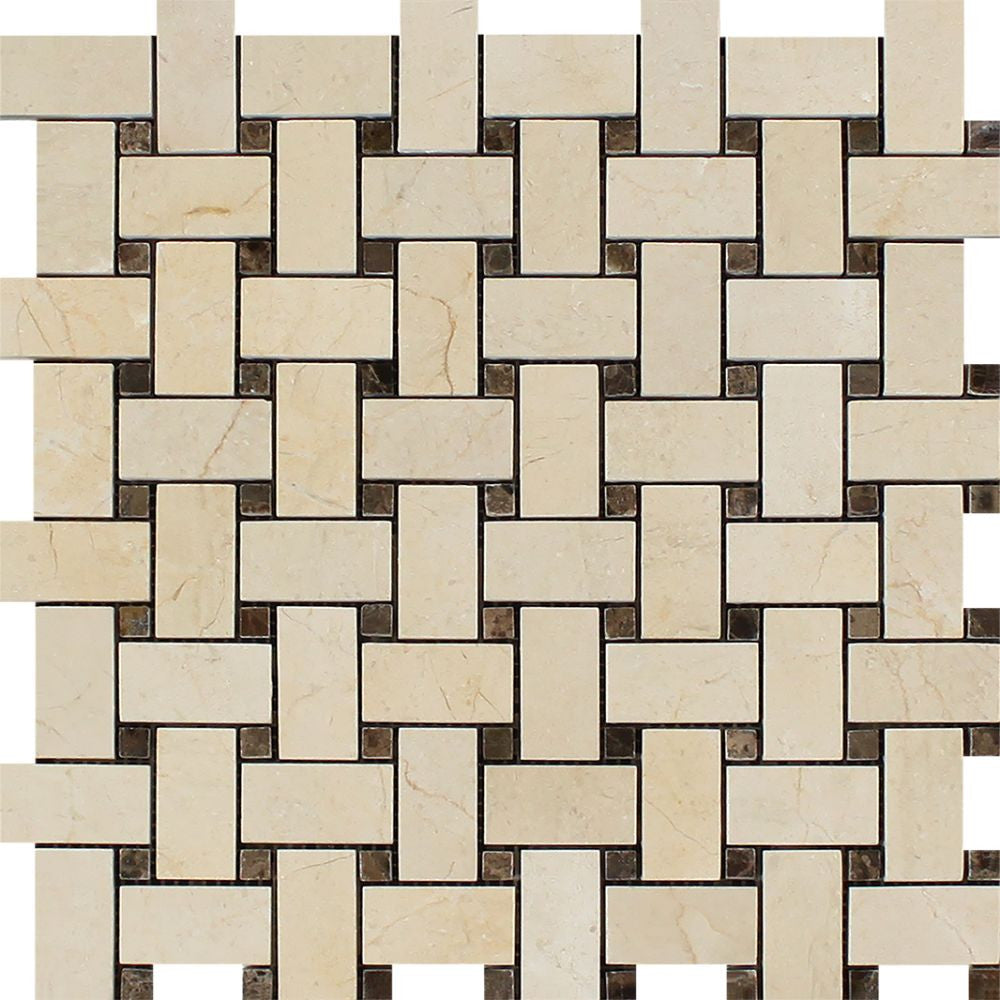Crema Marfil Polished Marble Basketweave Mosaic Tile w/ Emp. Dark Dots Sample - Tilephile