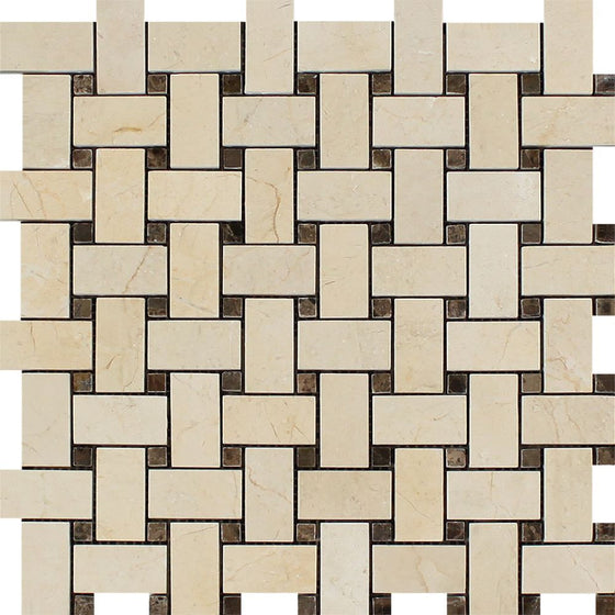 Crema Marfil Polished Marble Basketweave Mosaic Tile w/ Emp. Dark Dots