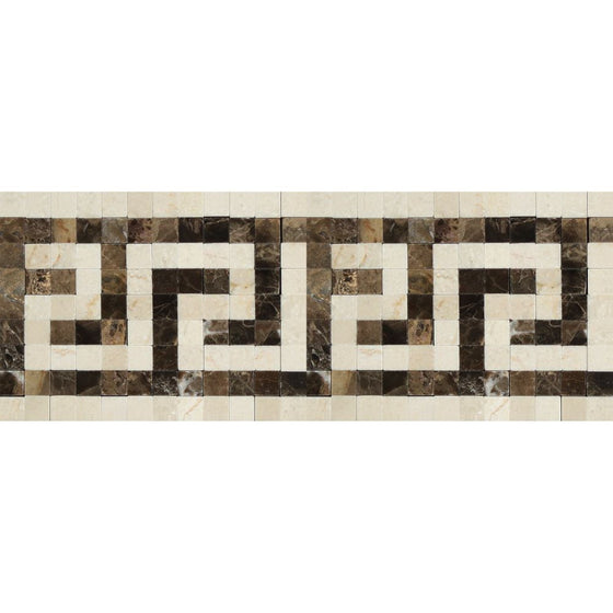 Crema Marfil Polished Marble Greek Key Border (Crema Marfil + Emp. Dark) - Tilephile