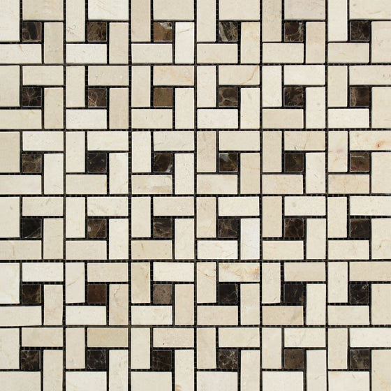 Crema Marfil Polished Marble Mini Pinwheel Mosaic Tile w/ Black Dots