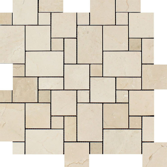 Crema Marfil Polished Marble Mini Versailles Pattern Mosaic Tile
