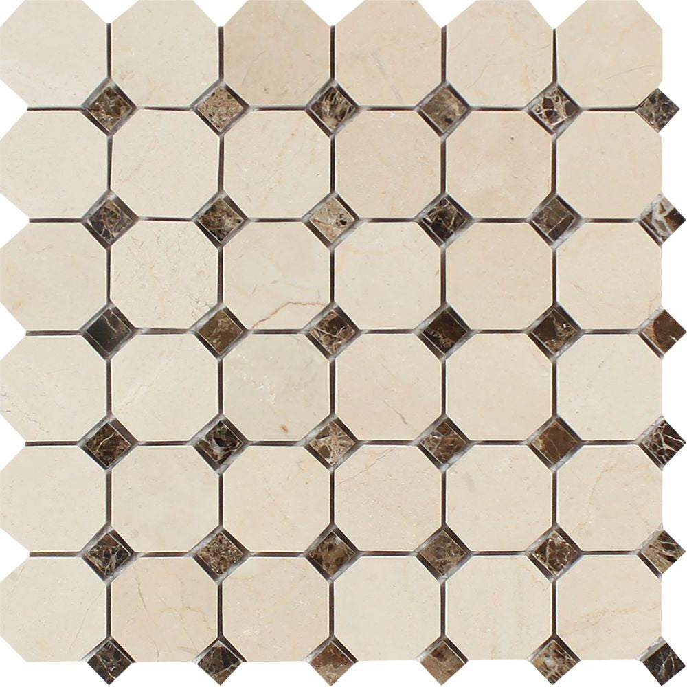 Crema Marfil Polished Marble Octagon Mosaic Tile w/ Emp. Dark Dots Sample - Tilephile