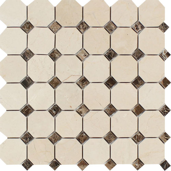 Crema Marfil Polished Marble Octagon Mosaic Tile w/ Emp. Dark Dots - Tilephile