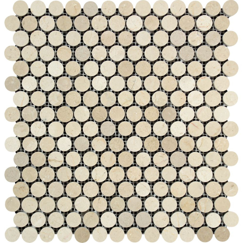 Crema Marfil Polished Marble Penny-Round Mosaic Tile Sample - Tilephile