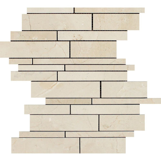 Crema Marfil Polished Marble Random Strip Mosaic Tile - Tilephile