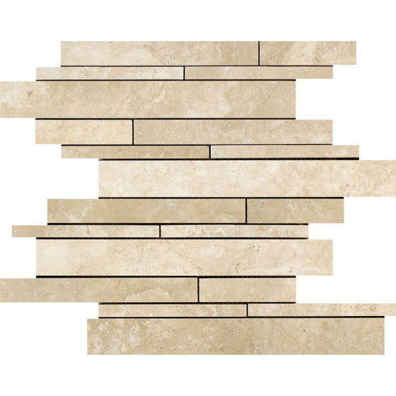 Durango Honed Travertine Random Strip Mosaic Tile - Tilephile