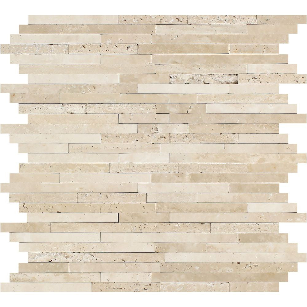 Durango Honed Travertine Small Random Strip Mosaic Tile Sample - Tilephile