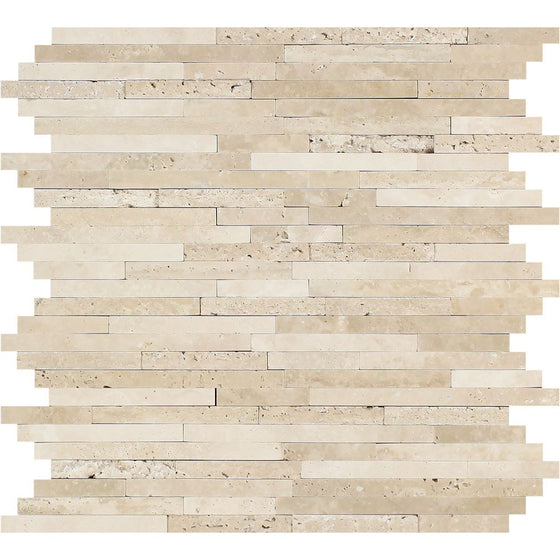 Durango Honed Travertine Small Random Strip Mosaic Tile - Tilephile